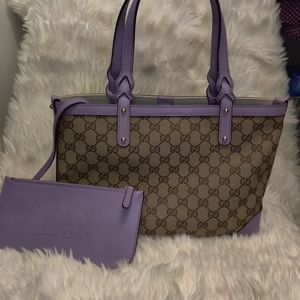 Gucci canvas with lilac leather trim